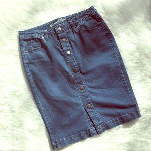 Universal thread button fly pencil jean skirt 8
